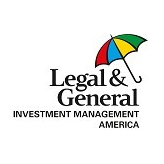 Multi-colored umbrella. Logo text reads Legal and General Investment Management America